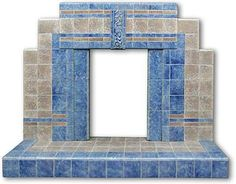 1920s Art Deco Stepped All Tiled Fireplace    £ 1350.00