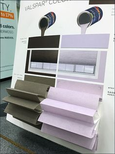 What better way to display that the Valspr® paint matches the Allen+Roth® Cellular shades that to incorporate the dimensionality of the shades into the paint point-of-purchase? An irregular easel c…