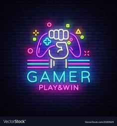 Game night logo in neon style, gamepad in hand, modern trend design, light banner, bright nightlife advertisement. Game Logo Design, Vector Logo Design, Logo Design Template, Video Game Rooms, Video Game Art, Photoshop Design, Billard Design, Neon Logo, Neon Design