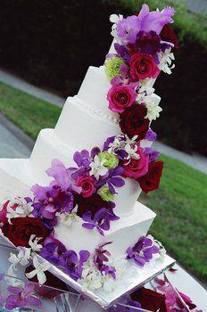 Wedding, Cake, Pink, Red, Purple, Roses, Orchids, Flourish