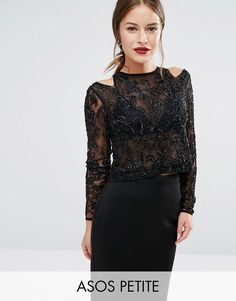 Buy it now. ASOS PETITE NIGHT Top with Cold Shoulder and Beaded Embellishment - Black. Petite top by ASOS PETITE, Heavily embellished mesh, Semi-sheer finish, Cut-out shoulder detail, Zip back with hook and eye closure, Regular fit - true to size, Hand wash, 100% Polyester, Our model wears a UK 8/EU 36/US 4. ABOUT ASOS PETITE 5�3�/1.60m and under? The London-based design team behind ASOS PETITE take all your fashion faves and cut them down to size. Say goodbye to all your short-girl probl...