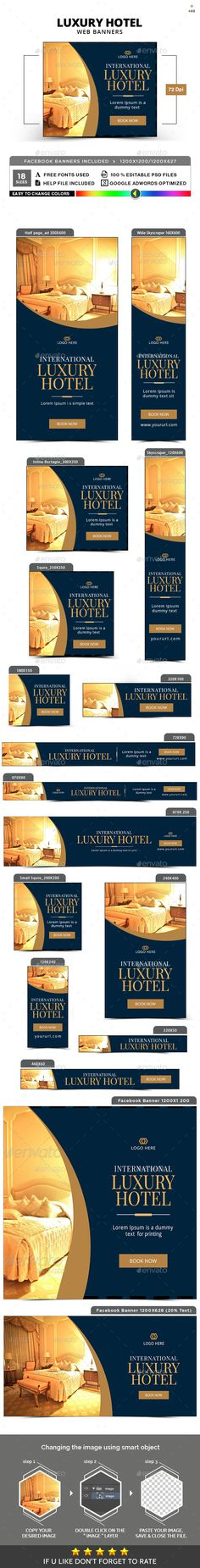 Luxury Hotel Banners Template PSD #promotion #ads