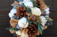 Rustic Winter Wedding Bouquet Wedding by SmokyMtnWoodcrafts