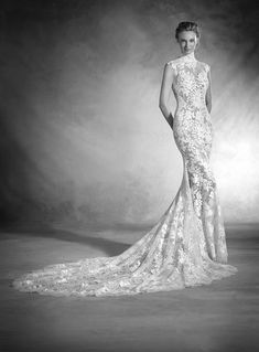 Nikol dress (Trumpet, Illusion, Cap Sleeves, Cap Sleeve) from Pronovias Atelier 2017, as seen on dressfinder.ca. Click for Similar & for Store Locator.