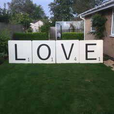 Giant LOVE scrabble tiles from Living the Cream