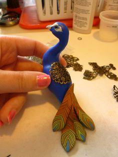 Progress of a Polymer clay peacock sculpture, handmade MysticReflections