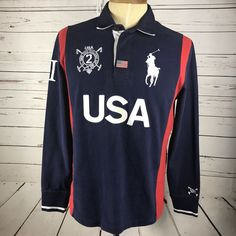 Polo Ralph Lauren Men's Custom Fit Blue Rugby Shirt USA Big Pony Size Large  #PoloRalphLauren #PoloRugby