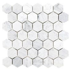 Volakas Polished Hexagon Porcelain Mosaic - 12 x 12 - 100484823