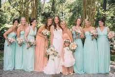 Peach and turquoise wedding bridesmaids dresses and bouquets