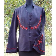 Long-sleeved women's blouse with braided trim. Its color is black with red deco Hungarian Women, Blouses For Women, Braid, Cord, Sweaters, Jackets, Dresses, Fashion, Embroidery