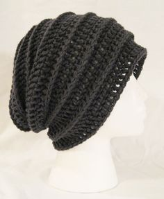 long slouch beanie grey ribbed hand crochet unisex by jeniebug76, $18.00