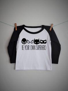 Be your own superhero boys raglan shirt