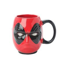 Marvel Deadpool Head Figural Mug | Hot Topic featuring polyvore, home, kitchen & dining, drinkware, cozinha, food, mug, random, superheroes, marvel mug, superhero mugs and ceramic mugs