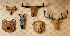 Tzachi Nevo has launched 'Hunter Wall', a collection of wood animal heads that can be hung alone or as a group to create whimsical wall decor.