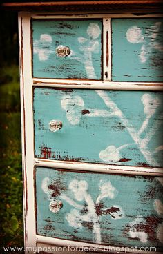 cherry blossom dresser, bedroom ideas, chalk paint, painted furniture, Chalk Paint by Annie Sloan in Provence and Old White Chalk Paint Projects, Chalk Paint Furniture, Furniture Projects, Cool Furniture, Modern Furniture, Furniture Design, Refurbished Furniture, Furniture Makeover, Repurposed Furniture