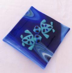 Fused & Slumped Glass dish with turtles by ArtGlassbySueTaylor, $26.00