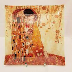 Schale Viereck dekoriert im Jugendstil mit Zertifikat - Der Kuss von G. Klimt Klimt, Quilts, Blanket, Tote Bag, Ebay, Quadrilateral, Certificate, Kiss, Art Nouveau