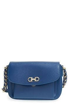 428a4b5396 Salvatore Ferragamo  Sandrine  Saffiano Leather Shoulder Bag available at   Nordstrom Blue Bags