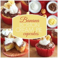 Banana Boston Cream Pie Cupcakes - Happy Hooligans
