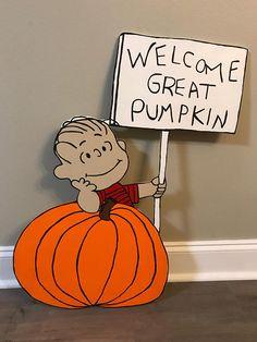 Welcome Great Pumpkin / Linus / Charlie Brown / Peanuts / Snoopy / Fall Yard Art / Halloween Decorations