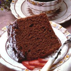 Chocolate Angel Food Cake...had it at a potluck today, YUM!  I don't even care for Angel Food!