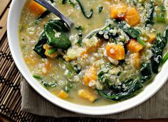 Quinoa chowder with Sweet Potatoes, Feta, Spinach and Scallions