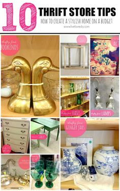 10 Thrift Store Shopping Tips: How To Decorate on a Budget! Great ideas for creating a stylish home on a small budget. #thriftshop #diy #decor #ideas