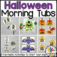 Are you students excited about Halloween? Then, they will LOVE these Halloween Morning Tubs! These 10 fun, hands-on activities can be used to learn and review literacy and math concepts. These October morning tubs are also an entertaining and engaging way to start the day. This set includes 5 litera...