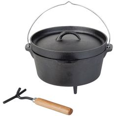 Black Outdoor Cooking Pot 3.7L Garden Camping Picnic Cast Iron Lid Portable Cook
