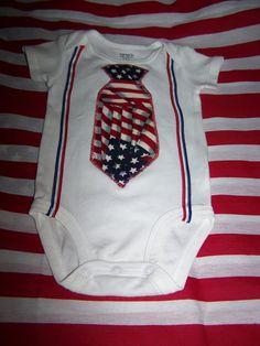 Boys Patriotic Tie Suspender Onesie Bodysuit Flag by sososophie