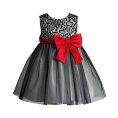Youngland Girls Black Lace Dress with Red Satin Bow Infant/Toddler... ($40) ❤ liked on Polyvore featuring baby