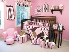 Maya Baby Bedding by Trend Lab  Maya Baby Bedding by Trend Lab combines traditional polka dots and stripe in a simply modern color combination of pink with chocolate and caramel browns. This Baby Bedding is ultra suede, velour and linen accents.