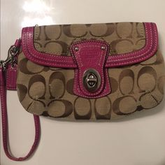 Coach Canvas Wristlet Never used! Coach Bags Clutches & Wristlets