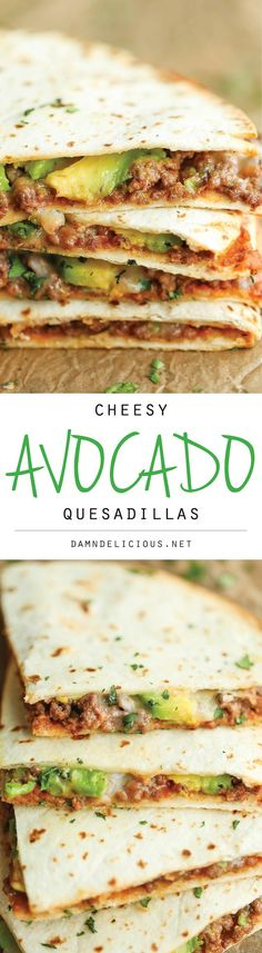 Avocado Quesadillas Cheesy Avocado Quesadillas - Easy, no-fuss quesadillas that are perfectly crisp and amazingly cheesy.Cheesy Avocado Quesadillas - Easy, no-fuss quesadillas that are perfectly crisp and amazingly cheesy. Think Food, I Love Food, Food For Thought, Good Food, Yummy Food, Tasty, Mexican Food Recipes, Beef Recipes, Dinner Recipes