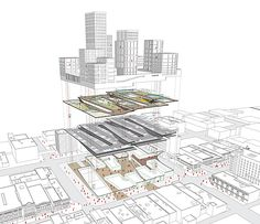 Exploded view showing the layering of the buidling: retail - parking - urban activity deck -residential/offices
