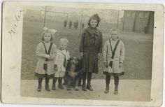 Antique Vintage RPPC Real Photo Postcard Children with Australian Shepherd Dog | eBay