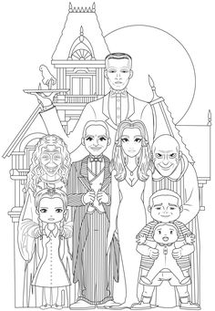 Famille adams 2 - Halloween Coloring Pages for Adults - Just Color Family Coloring Pages, Free Adult Coloring Pages, Cute Coloring Pages, Coloring Pages To Print, Printable Coloring Pages, Coloring Books, Gomez And Morticia, Morticia Addams, The Addams Family Halloween