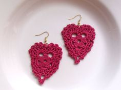 Delicate Cerise Heart Earrings by DivaStitchesCrochet on Etsy, via Etsy.  #crochet #earrings #jewelry