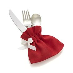 Red Linen Flatware Pouch in Entertaining | Crate and Barrel