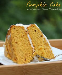 Pumpkin cake with cinnamon cream cheese icing. This seems like a fall must! From familyfoodandtravel.com.