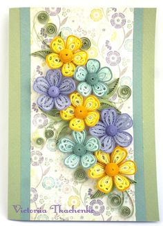 Quilling Greeting card, in mauve lilac pastel colors, for any occasion, birthday, ornate with flowers