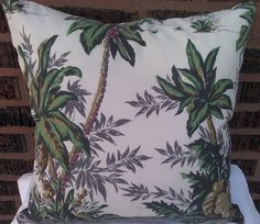 Palm Trees Pillow Cover Hawaiian Shirt 18 Inch Square Upcycled. $17.00, via Etsy.