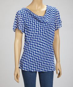 Take a look at this Blue & White Zigzag Drape Top by Wall Street on #zulily today!