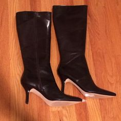 "{reduced} ann taylor tall boots Ann Taylor Charlie Pieced HH Boot • dark brown • heel is 3.5"" • never been worn • 19"" long including heel. Reduced from $160 Ann Taylor Shoes"
