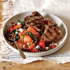 Grilled Lamb Chops with Wheat Berry, Strawberry, and Lacinato Kale Salad | CookingLight.com #myplate #protein #veggies #fruit #dairy #wholegrain
