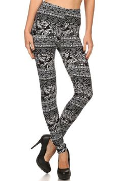 Elegant4U Junior's Printed Etched Elegant Paisley Pattern Fashion Leggings