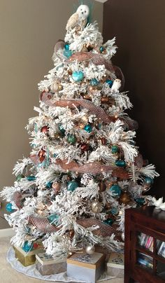 Our Flocked Christmas Tree by mandy Flocked Artificial Christmas Trees, Ribbon On Christmas Tree, Christmas Tree Farm, Christmas Tree Themes, Noel Christmas, Christmas Baubles, Xmas Trees, Woodland Christmas, Beautiful Christmas Trees
