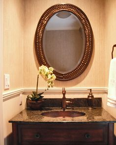 Brilliant Powder Room Sink Vanities Using Oval Undermount Basin with Brown Granite Countertop and Polished Copper Faucet also Framed Oval Wall Mirror Over White Beadboard Paneling of Furniture Bronze Bathroom, Bronze Mirror, Bathroom Mirrors, Bathroom Ideas, Bathrooms, Oval Mirror, Bathroom Inspiration, Home Design, Interior Design