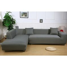 Universal Sofa Cover for L Shape, Polyester Fabric Stretch Slipcovers + Pillow Covers for Sectional sofa L shape Couch (Gray) Sectional Covers, Leather Sectional Sofas, Sectional Furniture, Sofa Seats, Sofa Covers, Pillow Covers, L Type Sofa, L Shaped Couch, Buy Sofa