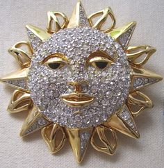 Signed+Swarovski+Pave'+Sun+Face+Brooch+Pin+